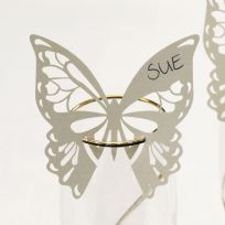 Elegant Butterfly Laser Cut Place Cards For On Glasses - Ivory (10)